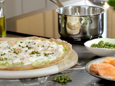 Pizza ricotta, saumon et crème de pistache - Galbani