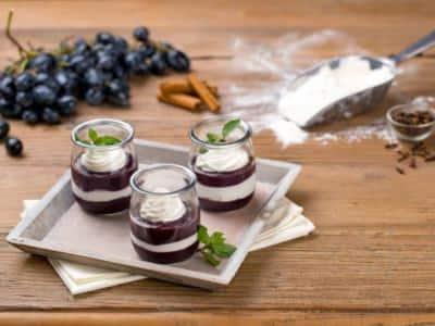 Verrines à la crème de ricotta et aux raisins américains - Galbani