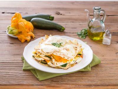 Lasagnes de Pain Sarde, Courgettes et ses Fleurs et Mozzarella - Galbani