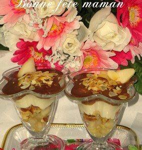 Verrine à la poire, mousse au chocolat et amandes - Galbani