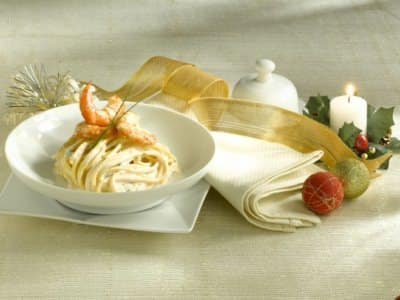 Spaghetti alla chitarra avec ricotta et crevettes - Galbani