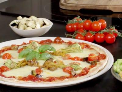 Pizza végétarienne Grana Padano et fleurs de courgettes - Galbani