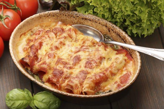 Cannelloni aux Tomates, Jambon et Mozzarella