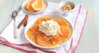 "Carpaccio d'orange, cannelle et pignon, ""Crema al mascarpone"" - Galbani"