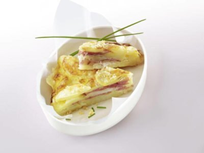 Gâteau de pommes de terre et jambon - Galbani