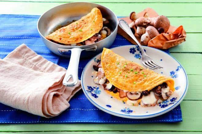 Omelette aux champignons frais et à la mozzarella - Galbani