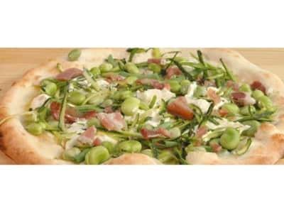 Pizza pancetta, fèves et haricots verts - Galbani