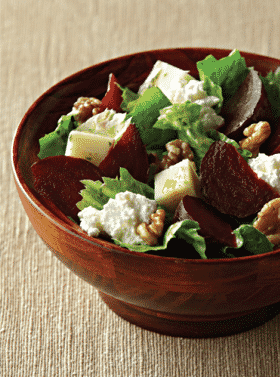 Salade de betteraves, noix, mozzarella et ricotta - Galbani