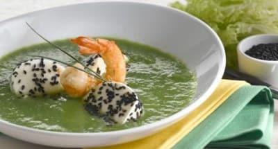 Soupe de laitue et de gambas avec Mozzarella au sésame - Galbani