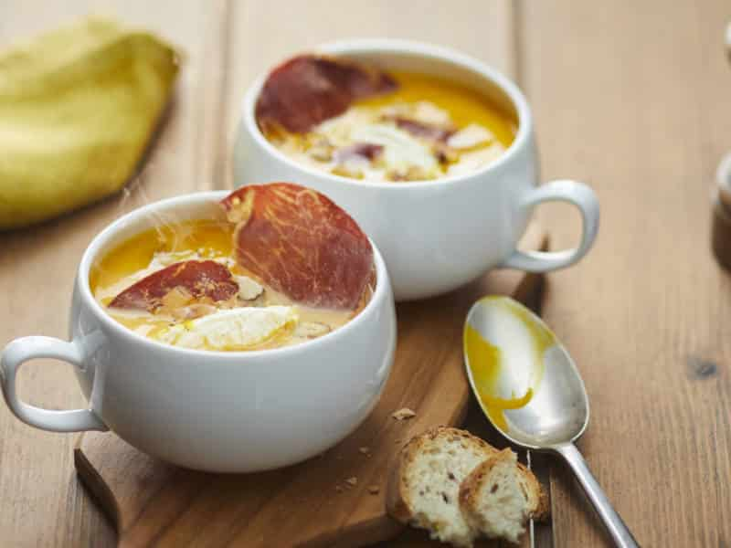 Veloute de Potimarron à la Noisette, Chips de Coppa et Fromage Nature Il Gusto - Galbani
