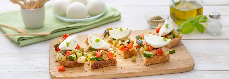 Bruschettas rustiques à la Mozzarella Di Bufala et aux légumes - Galbani