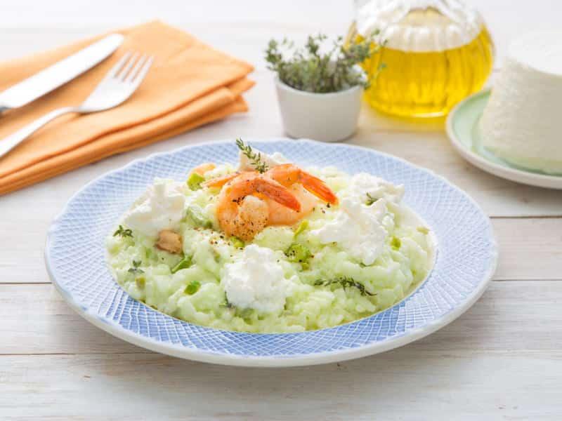 Risotto à la Ricotta, aux asperges et aux crevettes - Galbani