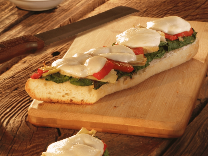 Toasts alla Mozzarella, Épinards et Artichauts - Galbani
